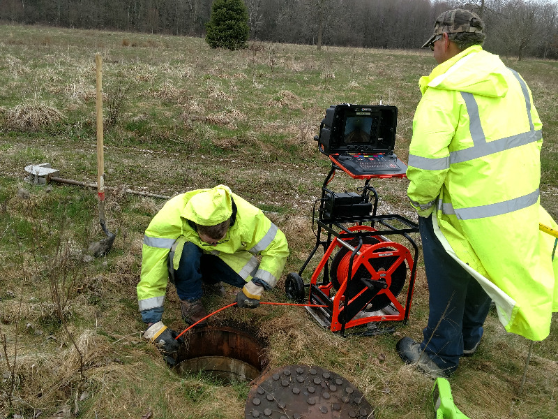 Septic system video camera inspection services